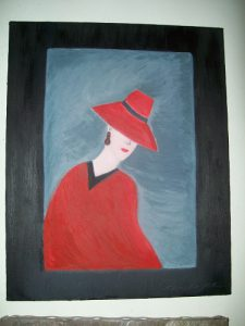 Lady In Red Cape, Original Oil by Penelope Nicholas